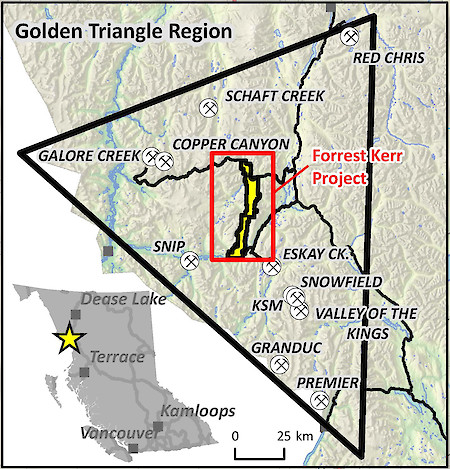 Forrest Kerr Gold Project, Golden Triangle Region, BC Location Map
